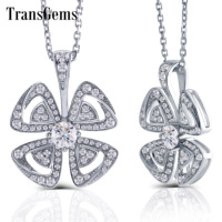 TransGems 18K 750 White Gold Flower Shape Pendant Necklace with F Colorless Moissanite for Women 2019 Gold Chain Necklace
