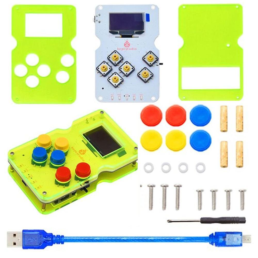 Keyestudio GAMEPI ATMEGA32U4 DIY Kit HandheldCon W/OLED Game Machine Console Starter Kit for Arduino compatible with ARDUBOY