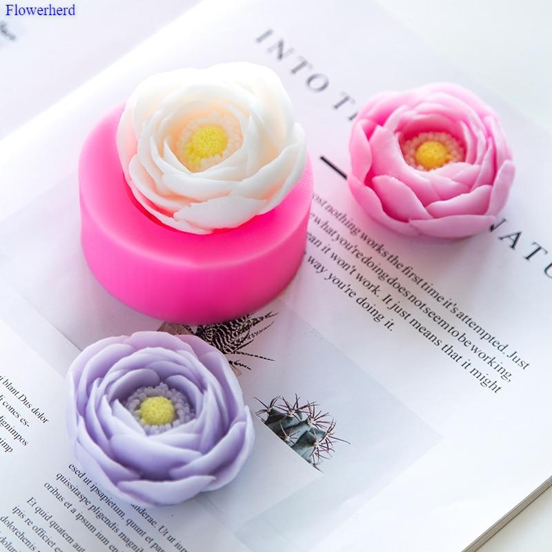 Peony Flower Handmade Soap Silicone Mold DIY Silicone Soap Molds Soap Molds For Soap Making Fondant Cake Decor Chocolate Mold