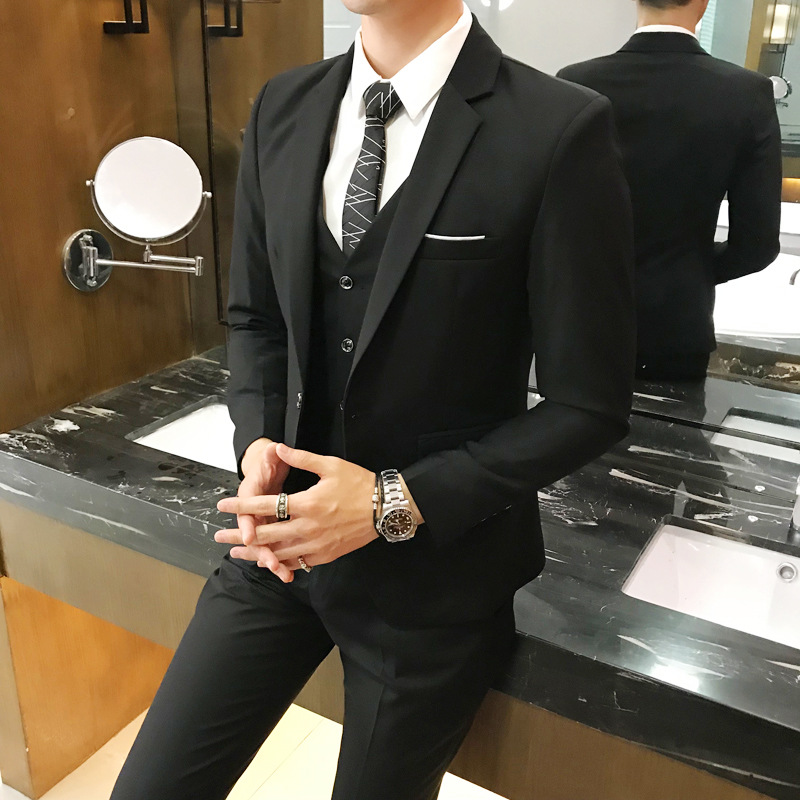 Plus Size 5XL 6XL Mens Suit Solid Color Formal Business One Button 3-Piece Suit Slim Fit Three Piece Wedding Men Suits