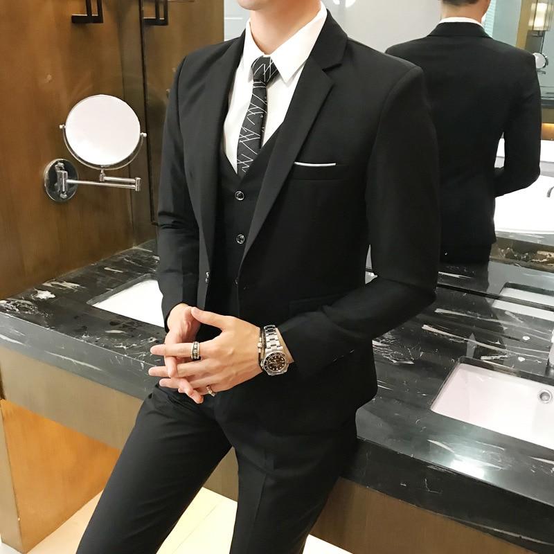 Plus Size 5XL 6XL Mens Suit Solid Color Formal Business One Button 3-Piece Suit Slim Fit Three Piece Wedding Men Suits