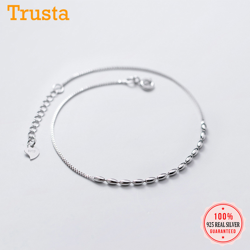 Trustdavis Authentic 925 Sterling Silver Fashion INS Romantic Beads Box Chain Bracelet Anklets For Women Wife Best Friend DA1186