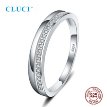 CLUCI Simple Silver 925 Bridal Ring for Women Zircon Wedding Engagement Rings Jewelry Valentine Gift