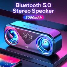 SACEC PSENS Bluetooth Không Dây Di Động Loa Bass Có Đèn LED Màn Hình Hỗ Trợ Thẻ TF AUX USB Thông Minh Báo Động Khí Quyển Ánh Sáng