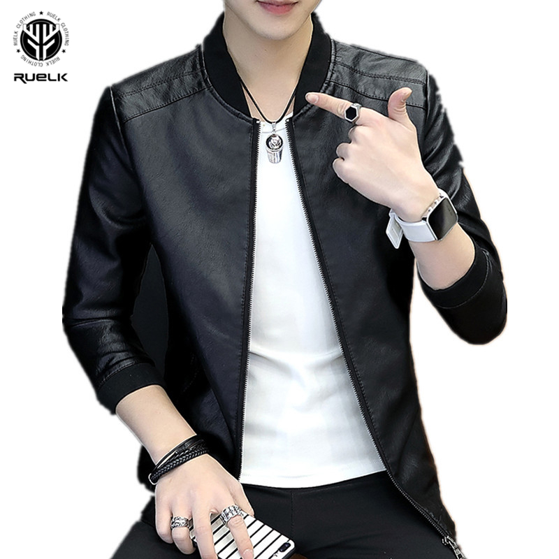RUELK Autumn  New Fashion Pu Leather Jacket Slim Long Sleeve Men's Fashion Trend Aviator Jacket Windbreaker Men's M-4XL