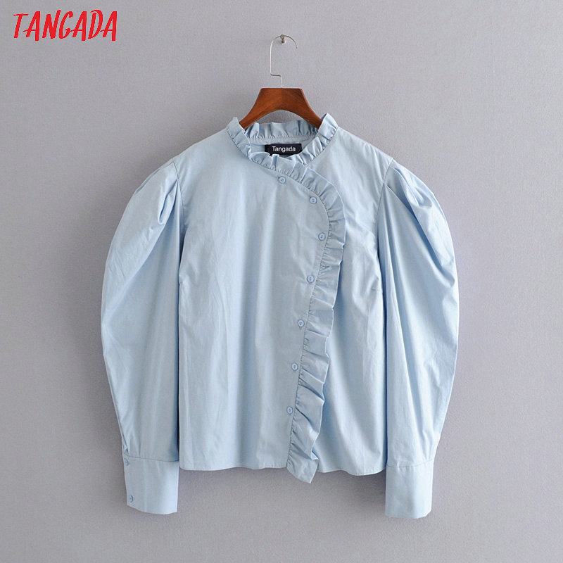Tangada Women Ruffle Blue Shirts Puff Long Sleeve Solid Elegant Office Ladies Work Wear Blouses 3H259