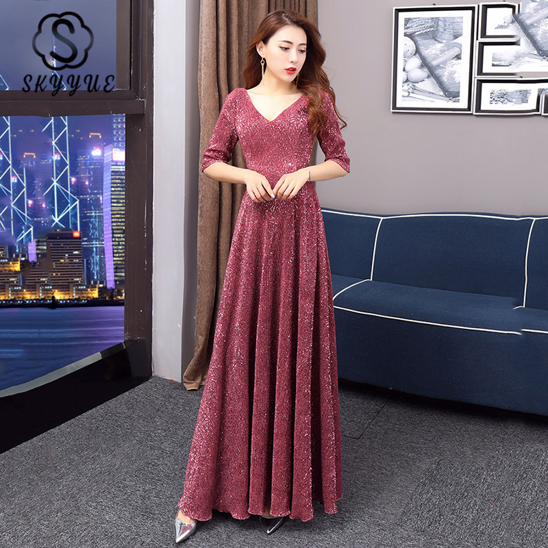 Skyyue Evening Gown 2020 Double V-Neck Half Sleeve Women Zipper Vestidos De Longo K243 Burgundy Sequins A Line Formal Party Gown