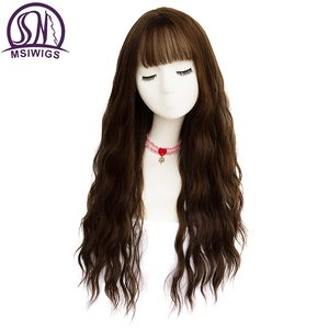 MSIWIGS Long Mix Brown Womens Wigs with Bangs Water Wave Heat Resistant Synthetic Grey Wigs for Women African American