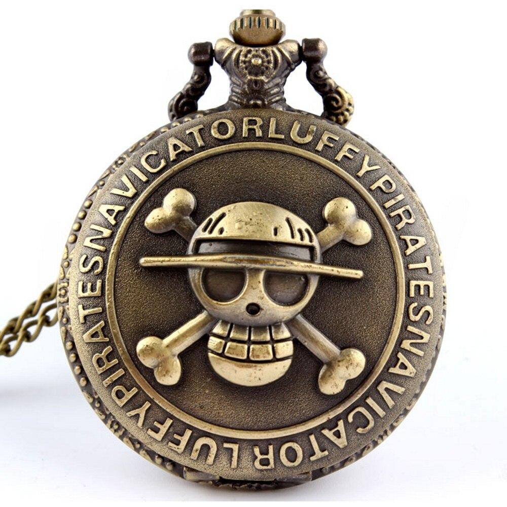 Antique Bronze Pirate Skull One Piece Quartz Retro Pocket Watch With Chain Necklace Watch Men Relogio