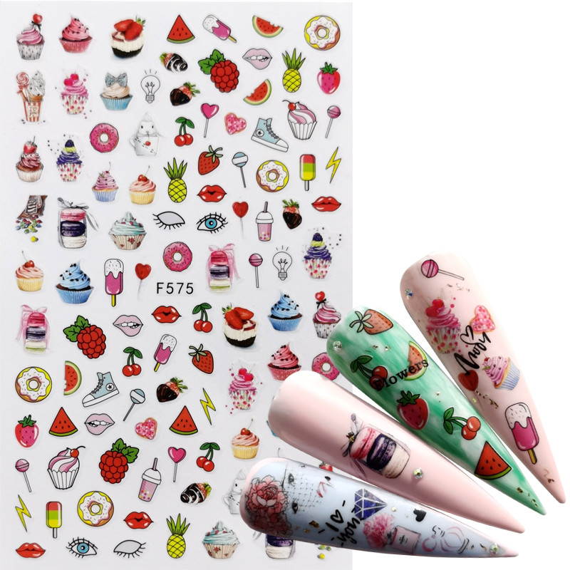 LCJ  1 PC Mix Fruit Nail Stickers Strawberry  / Butterfly / Flower 3D Adhesive Sliders Wraps Tips Charm Art Manicure Decorations