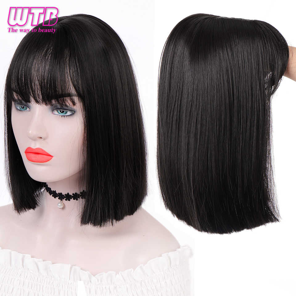 WTB Short Straight Wigs with Air Bangs for Girls Synthetic Wigs Black Bob Wig Heat Resistant Cosplay Daily Use Hair