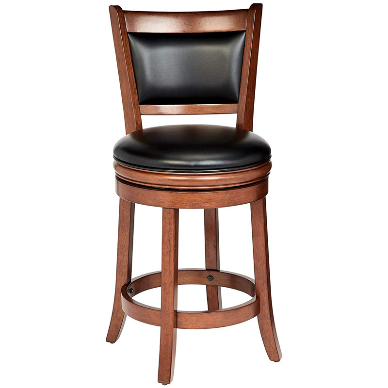 Retro Wooden Rotating Bar Chair Vintage Craft PU Leather Bar Stool Home Bar Chair Solid Wood High Chair High Bar Stool