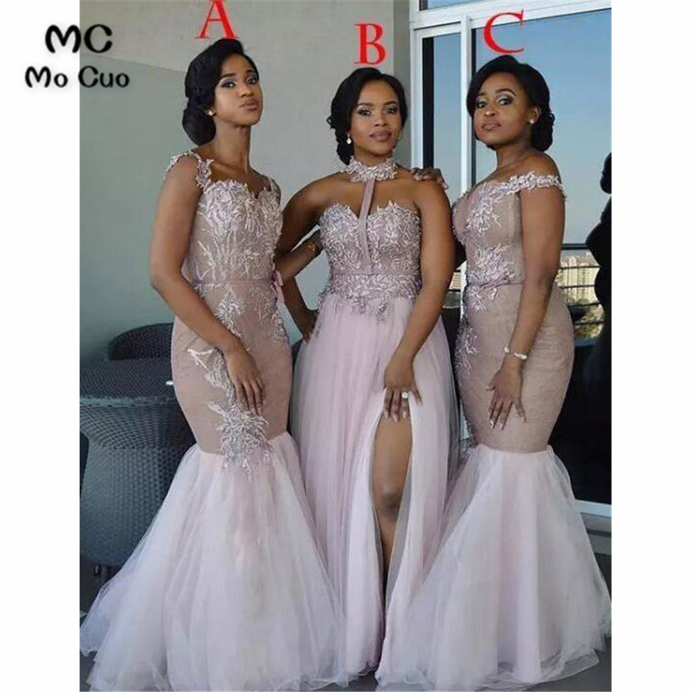 2019 Long   Bridesmaid     Dress   Long with ABC Wedding Party   Dress   Appliques Lace Front Slit Tulle   Bridesmaid     Dresses   for women
