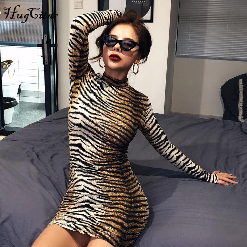 Hugcitar 2019 tiger leopard print long sleeve mini dress autumn winter women streetwear party outfits clubwear
