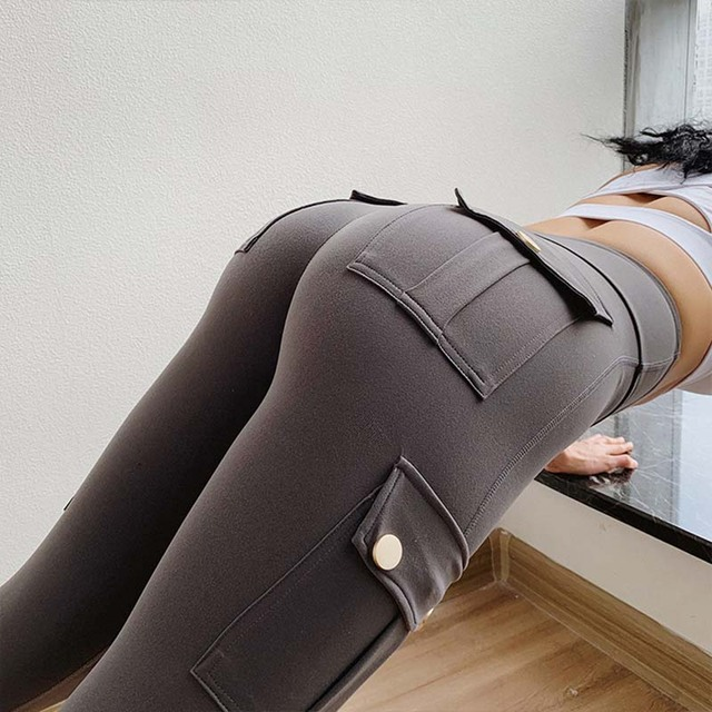 NORMOV Fitness polainas de las mujeres con bolsillo sólido alto cintura arriba poliéster polainas de carga pantalones casuales Hip Pop Pantalones 4