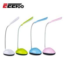 Eeetoo ledナイトライト子供のための柔軟な調整可能なポータブル読書デスクランプaaaバッテリ駆動ブックライト4色