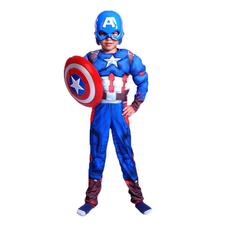 Kid Muscle Costume Cosplay Captain Tights Superhero Halloween Costume Boy Girl Accessories