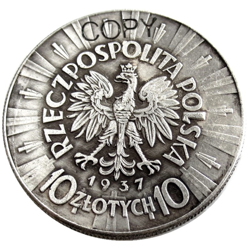 <font><b>1937</b></font> Poland 10 Zlotych Silver Plated Copy <font><b>Coin</b></font> image