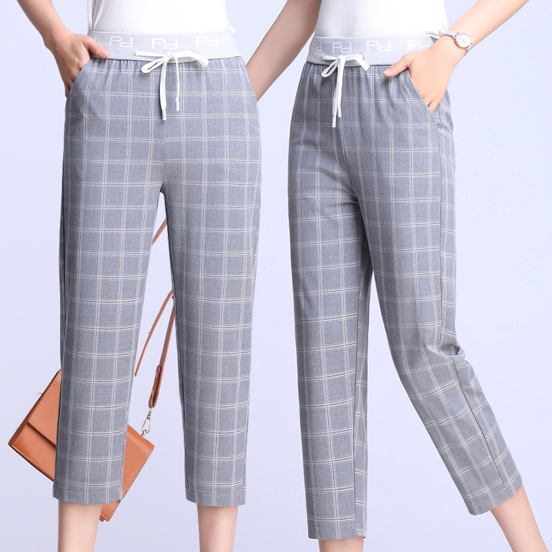 Summer Sports Seven Cropped Pants Women's Thin Slimming Straight-leg Pants Loose Fat Mm Breeches Large Size Elasticity Fashion S