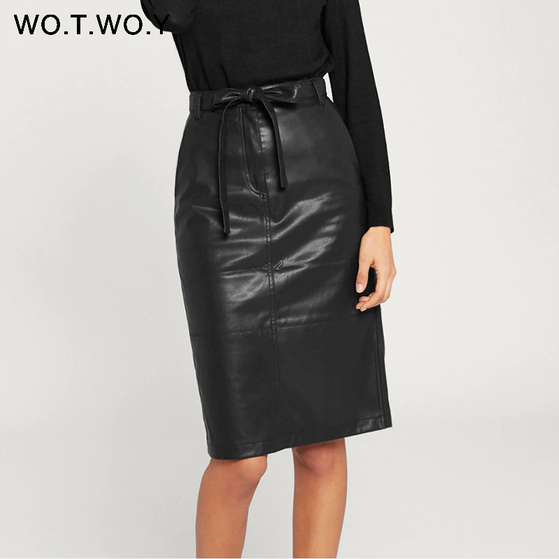 WOTWOY Autumn Office Lady Faux Leather Women Skirt 2019 Formal High Waist Midi Pencil Skirt Knee-Length Belt Pocket Skirt Womens