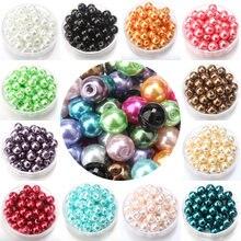 Imitação de vidro frete grátis 4/6/8/10mm, pérolas, multicolor, pérolas, diy, pulseira, brincos, gargantilha colar jóias fazendo