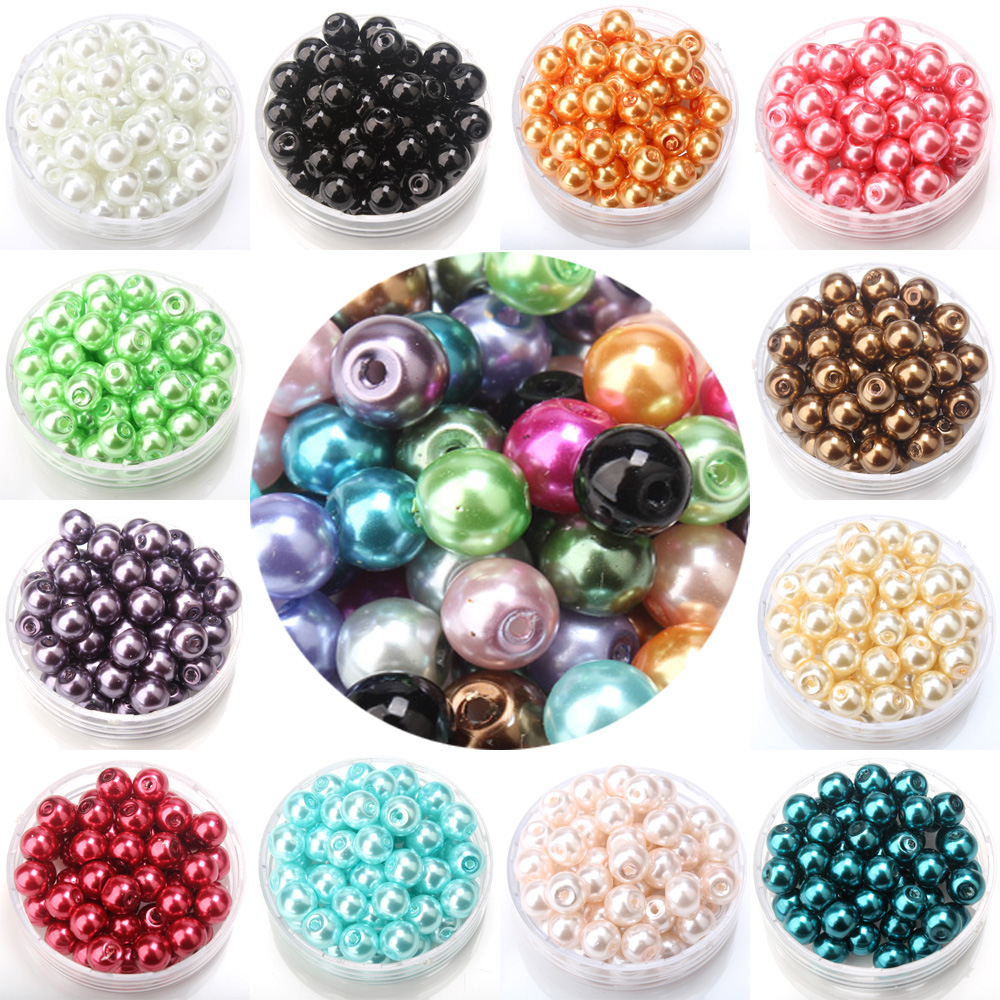 Free shipping 4/6/8/10MM glass imitation pearls multicolor beads DIY Bracelet earrings bead choker necklace Jewelry Making