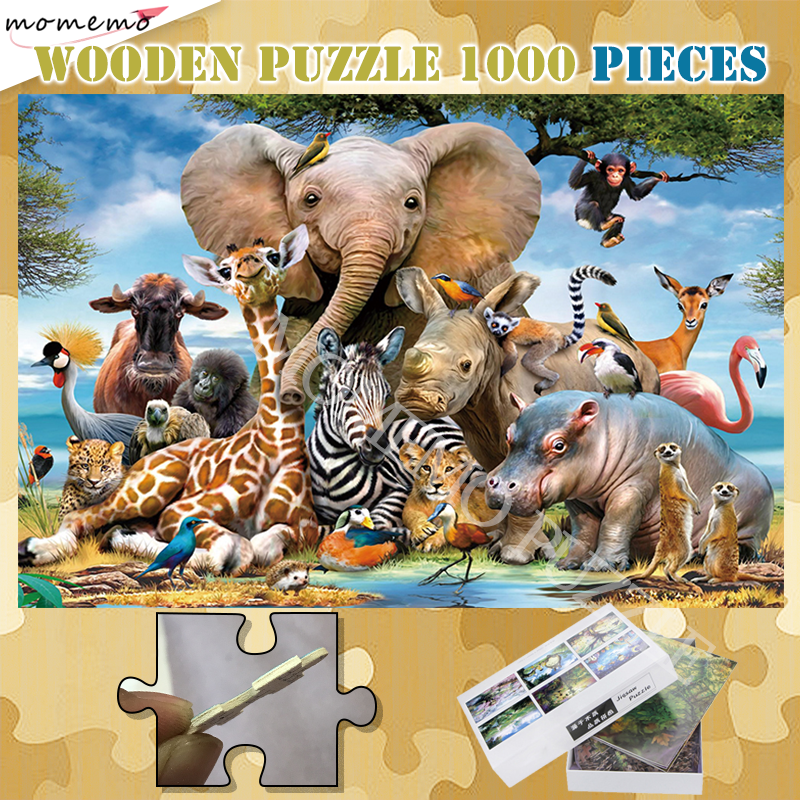 Pure Wooden 300 500 1000 Pieces Puzzle African Animals Jigsaw Picture Puzzle For Adults Customized Assembling Puzzle Games Gifts