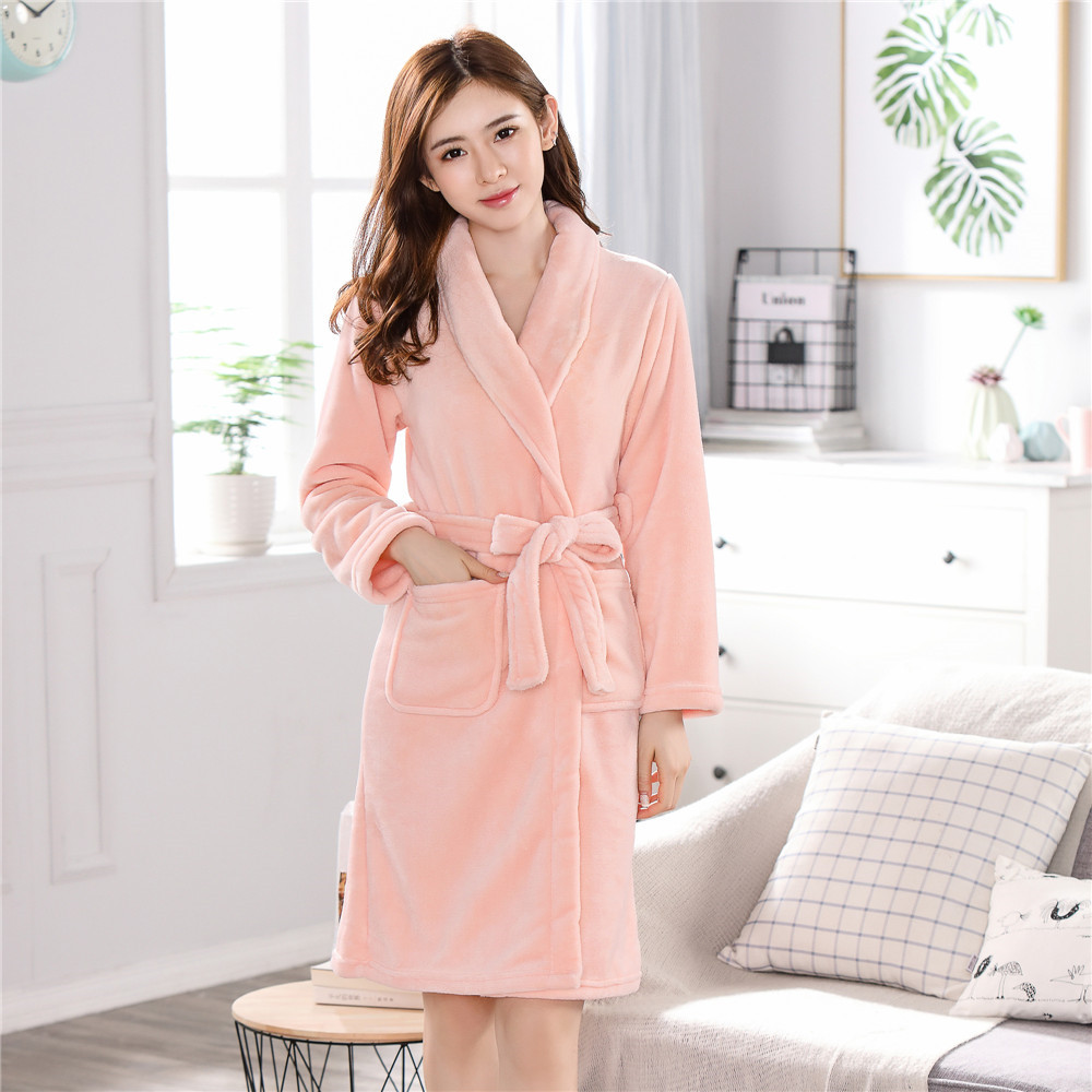Elegant Winter Robe Women Flannel Sleepwear Coral Fleece Nightwear Casual Nightgown Kimono Bath Thick Warm Home Clothing Gown
