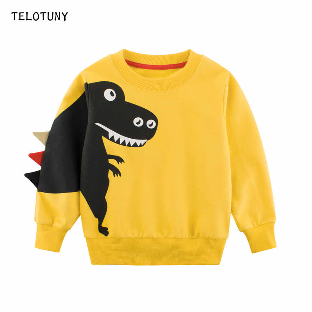 TELOTUNY Baby Clothes For Boys Tops Sweatshirts Long Sleeve Cartoon Dinosaur Print T-Shirt Toddler Clothing Children Cothing 809