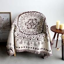 Vintage Divan de punto Banco Manta sofá mecedora Funda para sillas Chaise Longue borlas Plaid mujer Manta