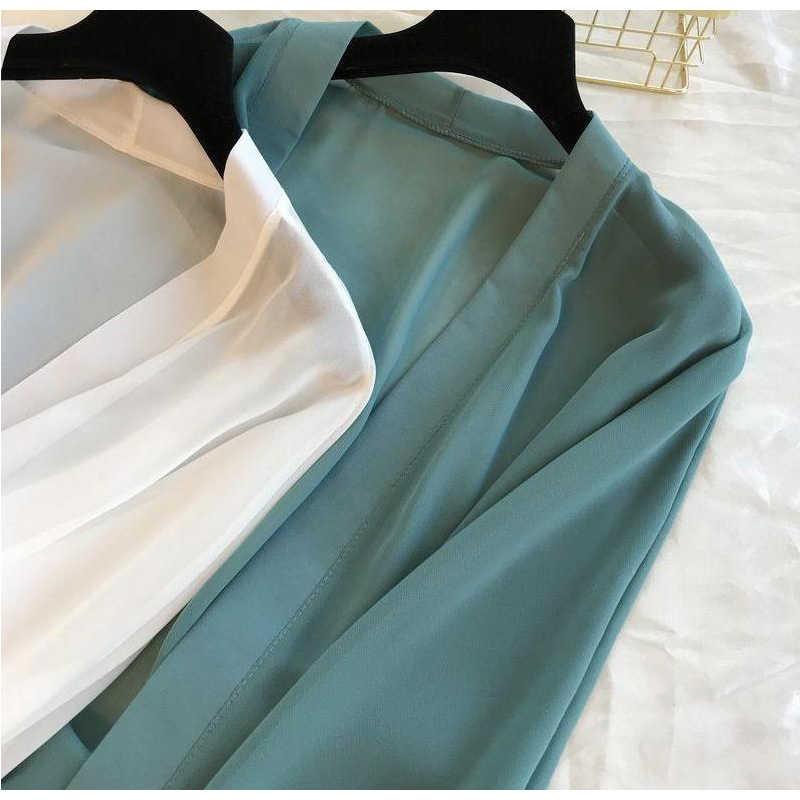 2020 بلوزات بأكمام طويلة فانوس كيمونو كارديجان للعطلات والشاطئ ملابس نسائية صيفية قمصان كورية مقاس كبير BB292