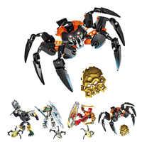 XSZ 708-4 BionicleMask de Luz Crianças Senhor De Crânio Aranha Building Block Brinquedos Compatíveis com Bionicle 70790