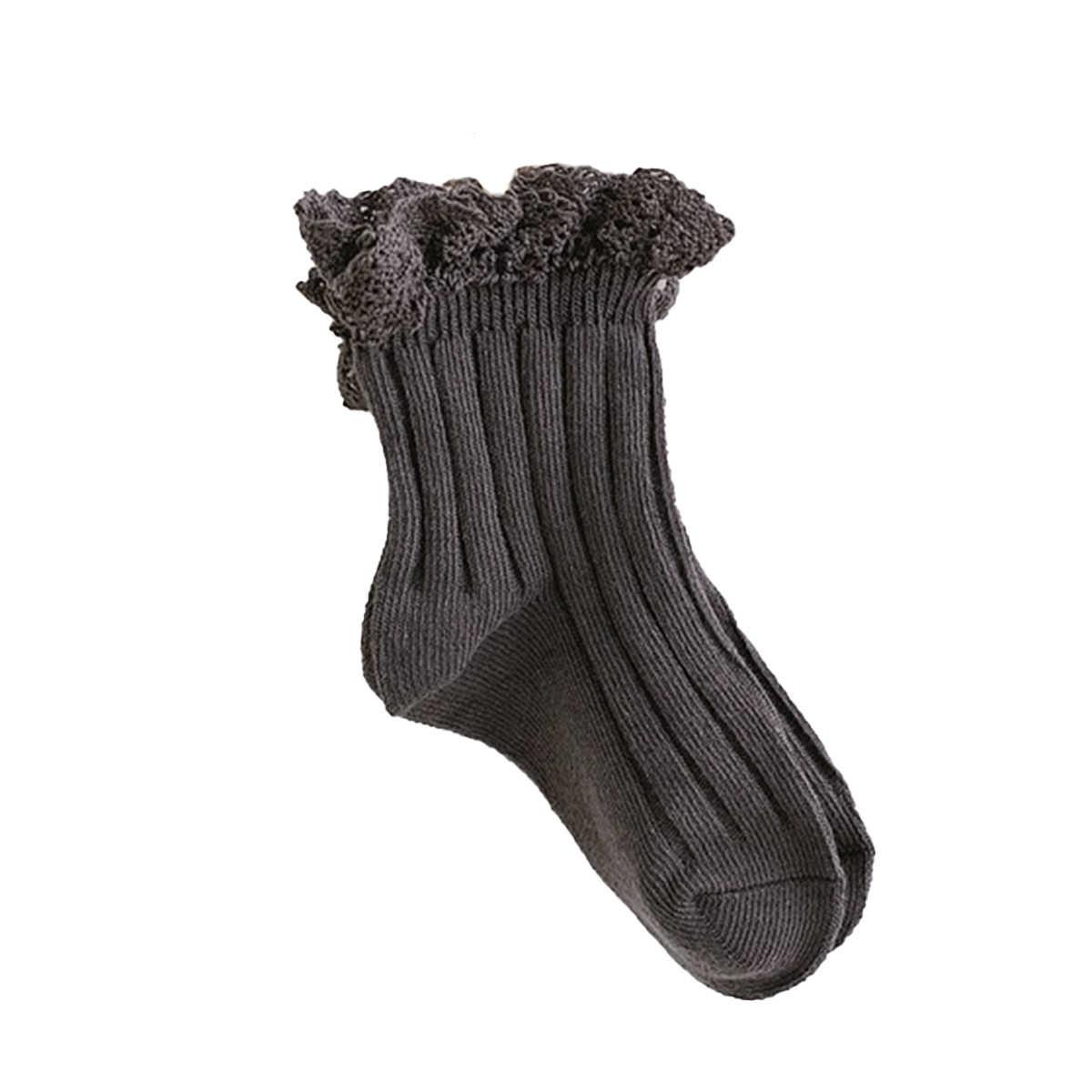 1-8Y Trendy çocuk bebek kız katı nervürlü çorap bahar sonbahar ince pamuk prenses çorap sevimli dantel yaz mantar kenar çorap