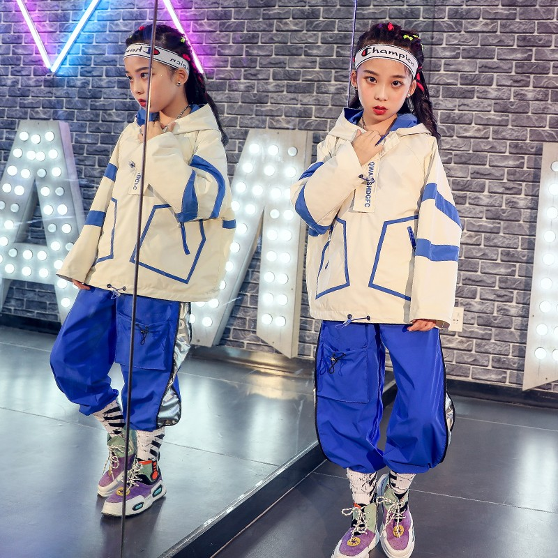 Children'S Jazz Dance Costume Loose Long-Sleeved Autumn Clothes Boys Hip-Hop Street Dance Costumes Girls Dancewear Tide DWY2282