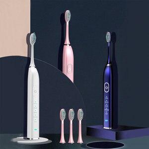 Image 2 - 5 モード音波電動歯ブラシスマートusb充電式電子歯ブラシ防水 5 交換ブラシ歯ヘッド