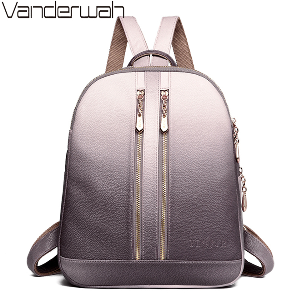 Luxury Women Leather Backpacks For Teenage Girls Sac A Dos School Backpack Female Travel Bagpack Ladies Casual Daypacks Mochilas