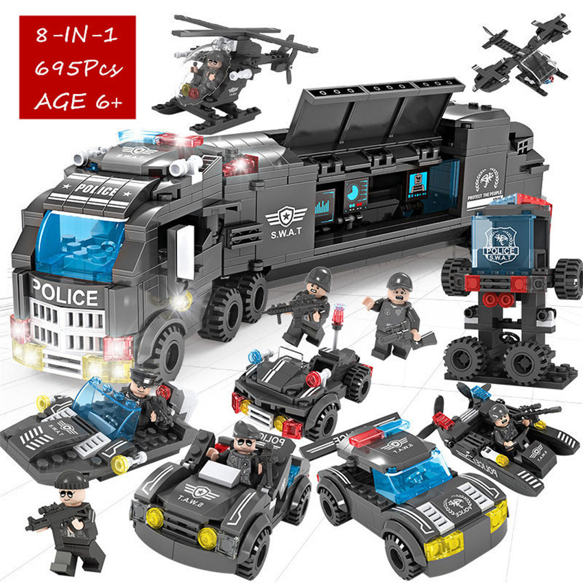 695Pcs Lepinblocks City Police SWAT Truck Building Blocks Sets WarShip Vehicle War Chariot LegoINGLs Technic Bricks Toys For Kid