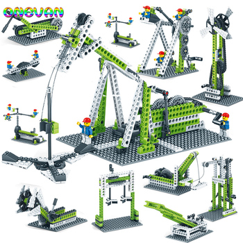 Engineering Gear Science Educational Constructor Blocks Toys Mechanical Gear Technic Building Blocks Children's Science Toy Gift lepin 20055 1180pcs technic mechanical series the rescue vehicle set 42068 children educational building blocks bricks toy gift
