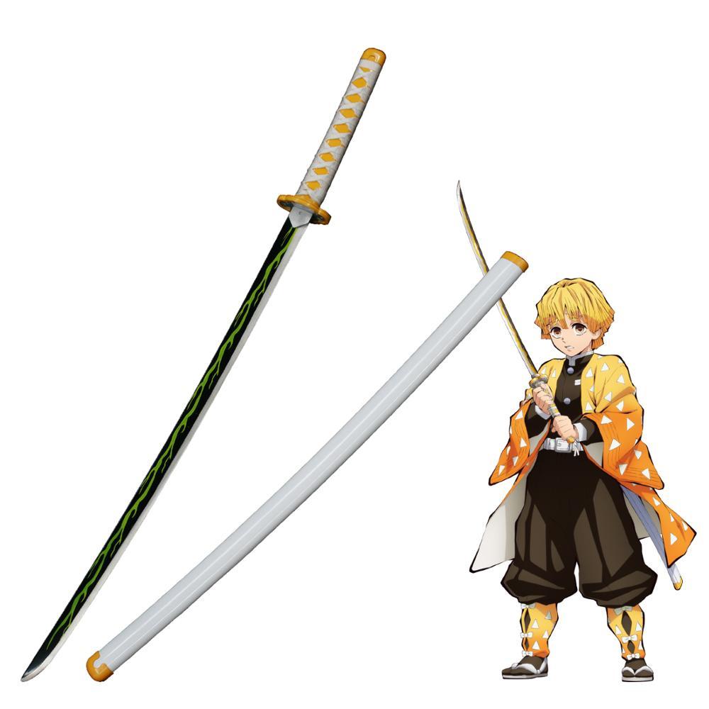 Demon Slayer: Kimetsu no Yaiba Japanese Anime Agatsuma Zenitsu Cosplay Replica Sword Carbon Steel