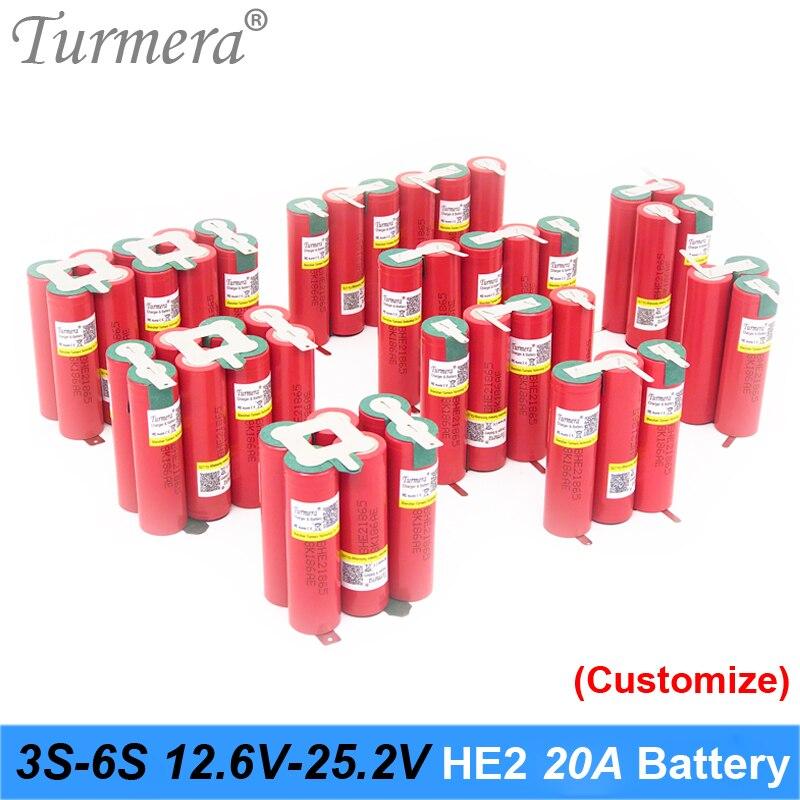 Turmera-Batería de soldadura para destornillador Shurik, 3S, 4S, 5S, 6S, 18650 HE2, 2500mAh, 5000mAh, 20A, 12,6 V a 25,2 V