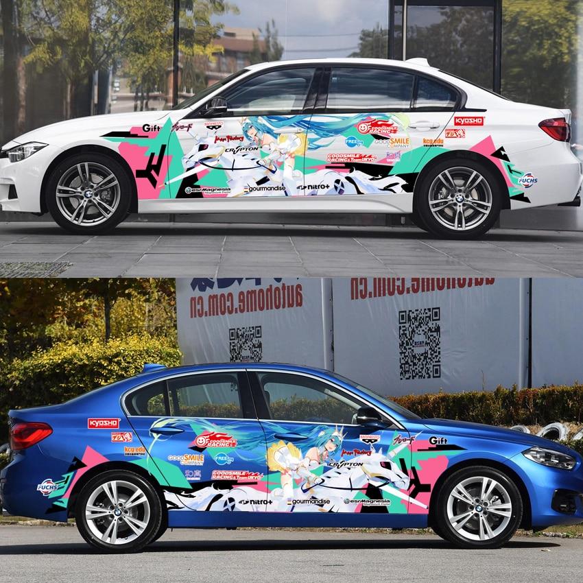 Japan Anime Vinyl Car Sticker RACING Hatsune Miku Cartoon Door Decals Ralliart Stickers On Car Vehicle Accessories