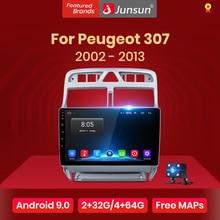Junsun 4G+ 64G Android 9,0 для peugeot 307 2002-2013 авто 2 din автомагнитола стерео плеер Bluetooth gps навигация нет 2din dvd