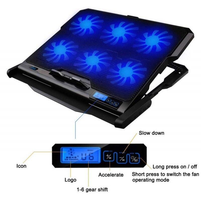 Nouveau refroidisseur d'ordinateur portable 2 Ports USB et Six ventilateur de refroidissement plaque de refroidissement pour ordinateur portable support pour ordinateur portable pour 12-15.6 pouces pour ordinateur portable