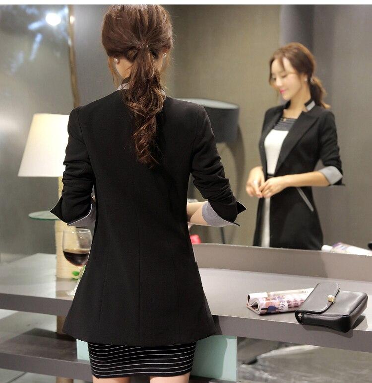 Women Blazer For Work Black Long Blazer For Women Double Breasted White Suit Women Office Blazer Plus Size LX494