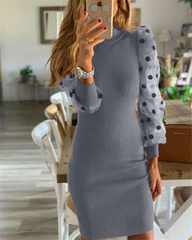 Women's Knit Bodycon Sweater Dress Long Puff Sleeve Long Jumper Pencil Dresses 2020 New Ladies Casual Dress Winter Dress hot plus size long sleeve ribbed jumper casual knit dress