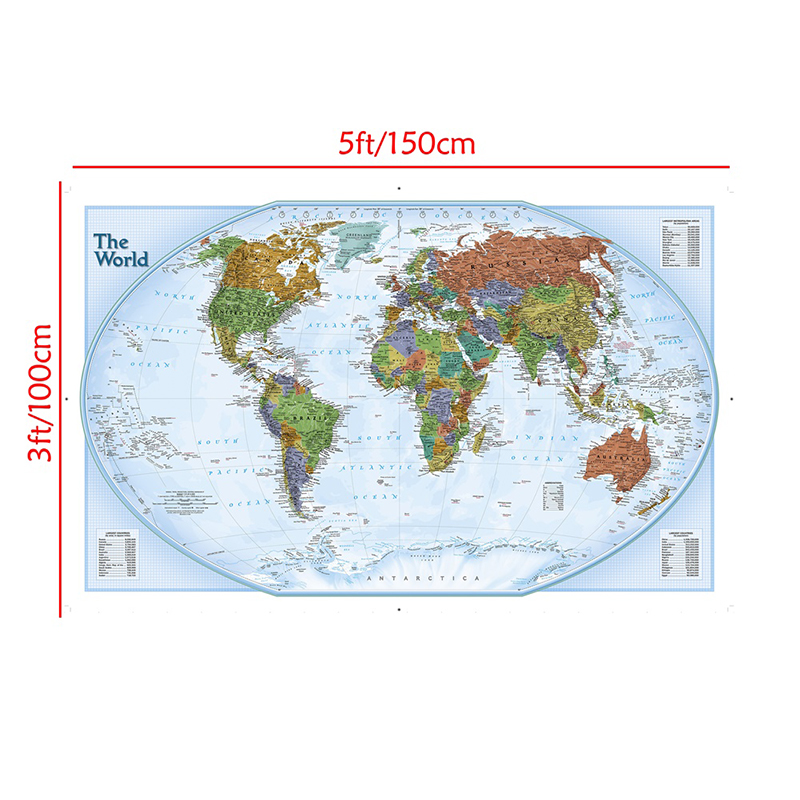 150x100 Non-woven Map World Map With Important Cities Of Various Countries Marked Without National Flag For Home Decor