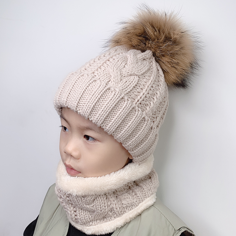 Cap Scarf-Set Pompom-Hat Beanie Raccoon-Fur Fleece Baby-Girls Boys Winter Kids Children