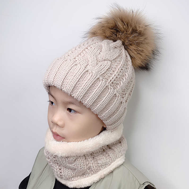 123947c6c Winter Girl Poms Warm Knit Children Real Raccoon Fur caps Pom pom ...