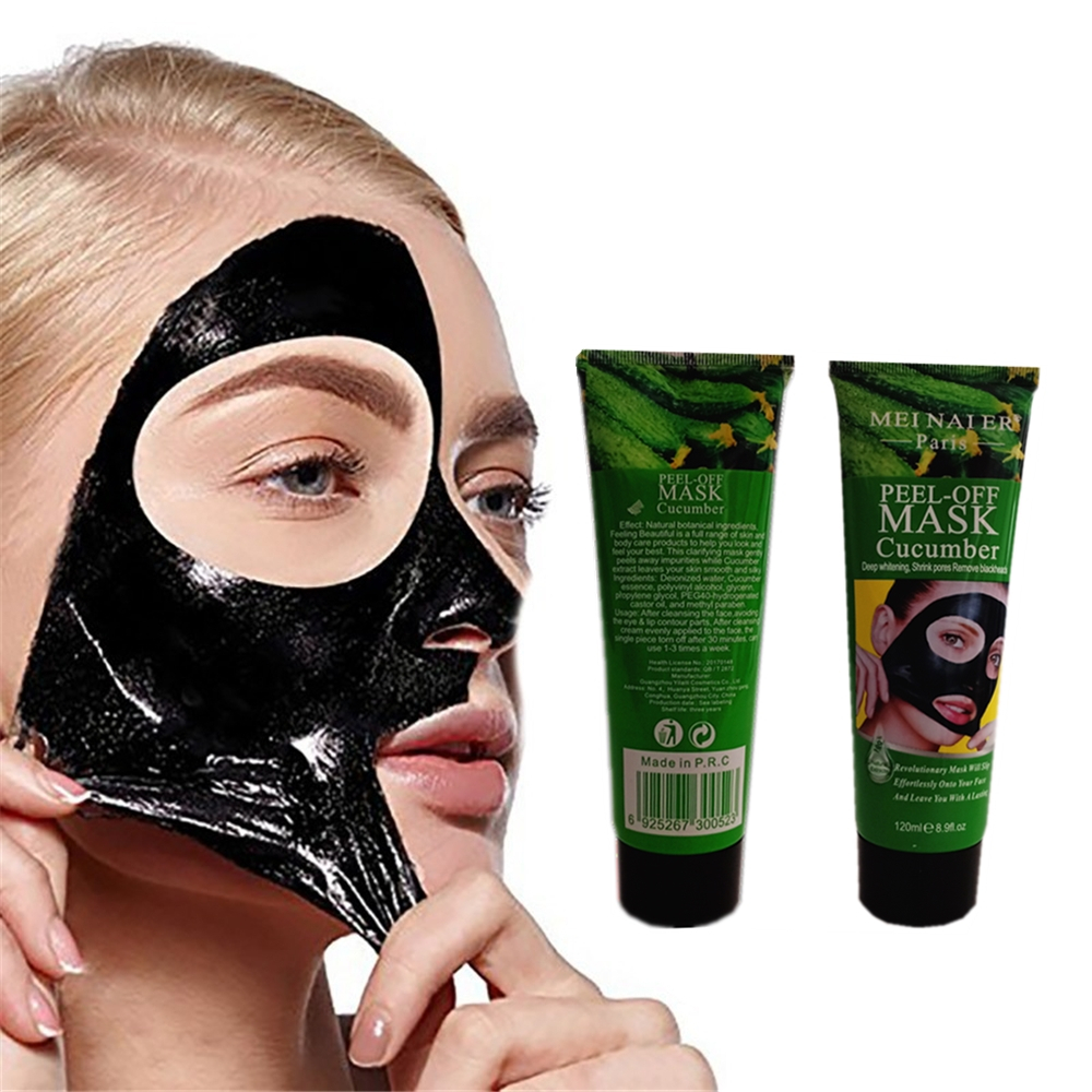 Green Tea Pimples Remover Nose Face Black Mask Mud Acne Treatment Cucumber Face Pack Pore Strip Skin Whitening Peel Mask 1Pcs