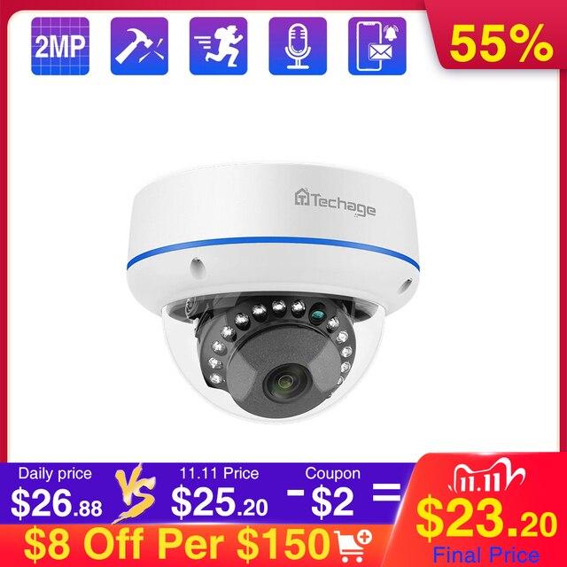 Techage 1080p 2mp dome poe câmera 48v rede hd onvif cctv vigilância de vídeo segurança em casa p2p ir cortar câmeras ip visão noturna